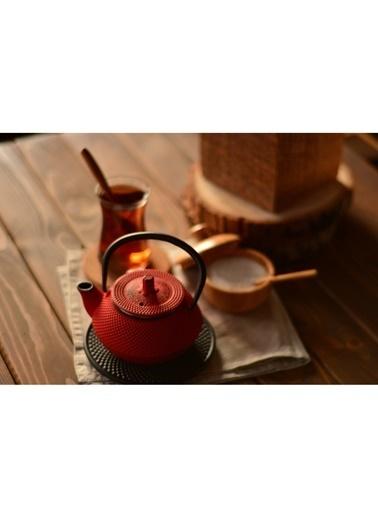Taşev Linden - Sümbül 300 ml Kırmızı Döküm Çaydanlık-Bambum